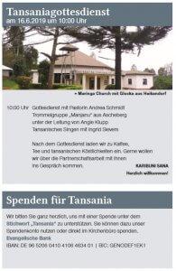 Einladung zum Tansaniagottesdienst